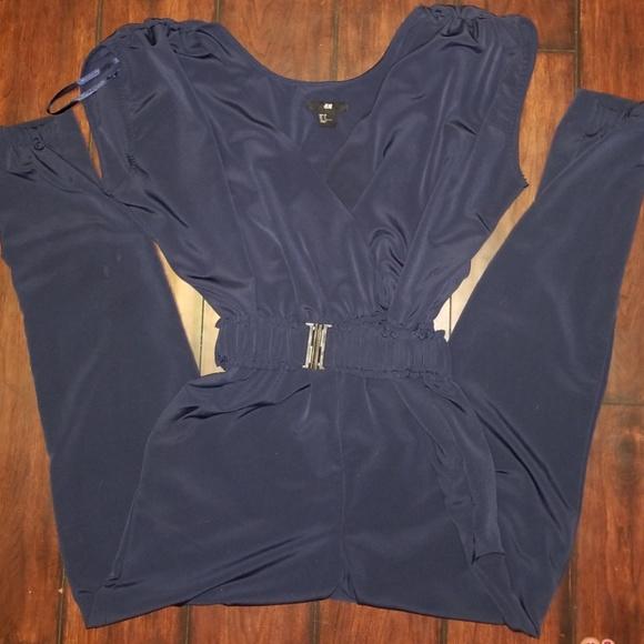 34dfe2db16b H M Pants - H M Navy Blue Jumpsuit